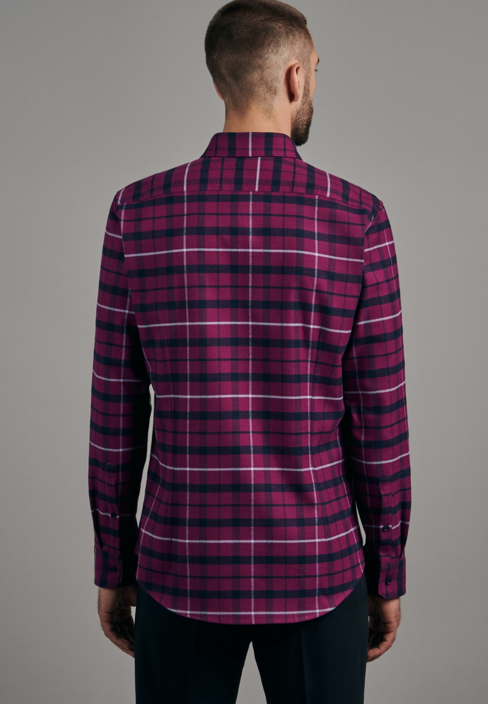 Flannel Business Shirt in Slim with Button-Down-Collar in Pink |  Seidensticker Onlineshop