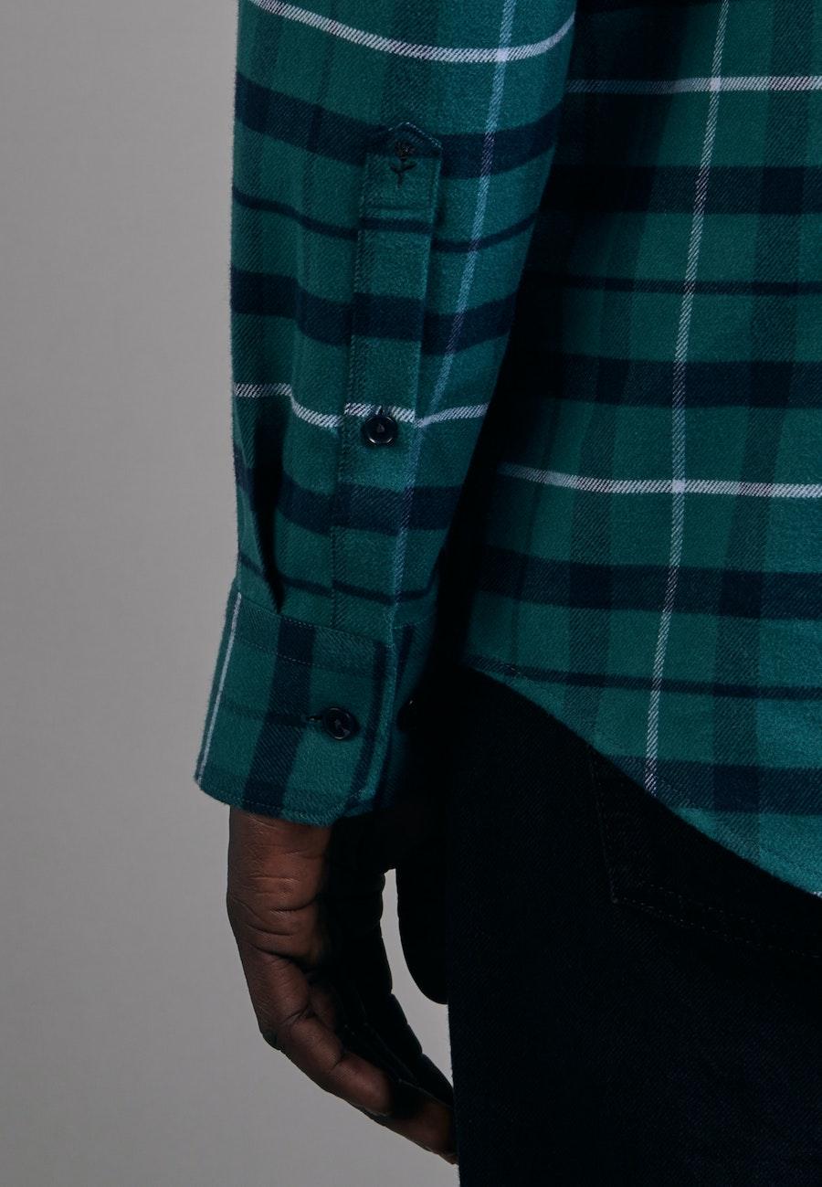 Flanell Business Shirt in Slim with Button-Down-Collar in Green    Seidensticker Onlineshop