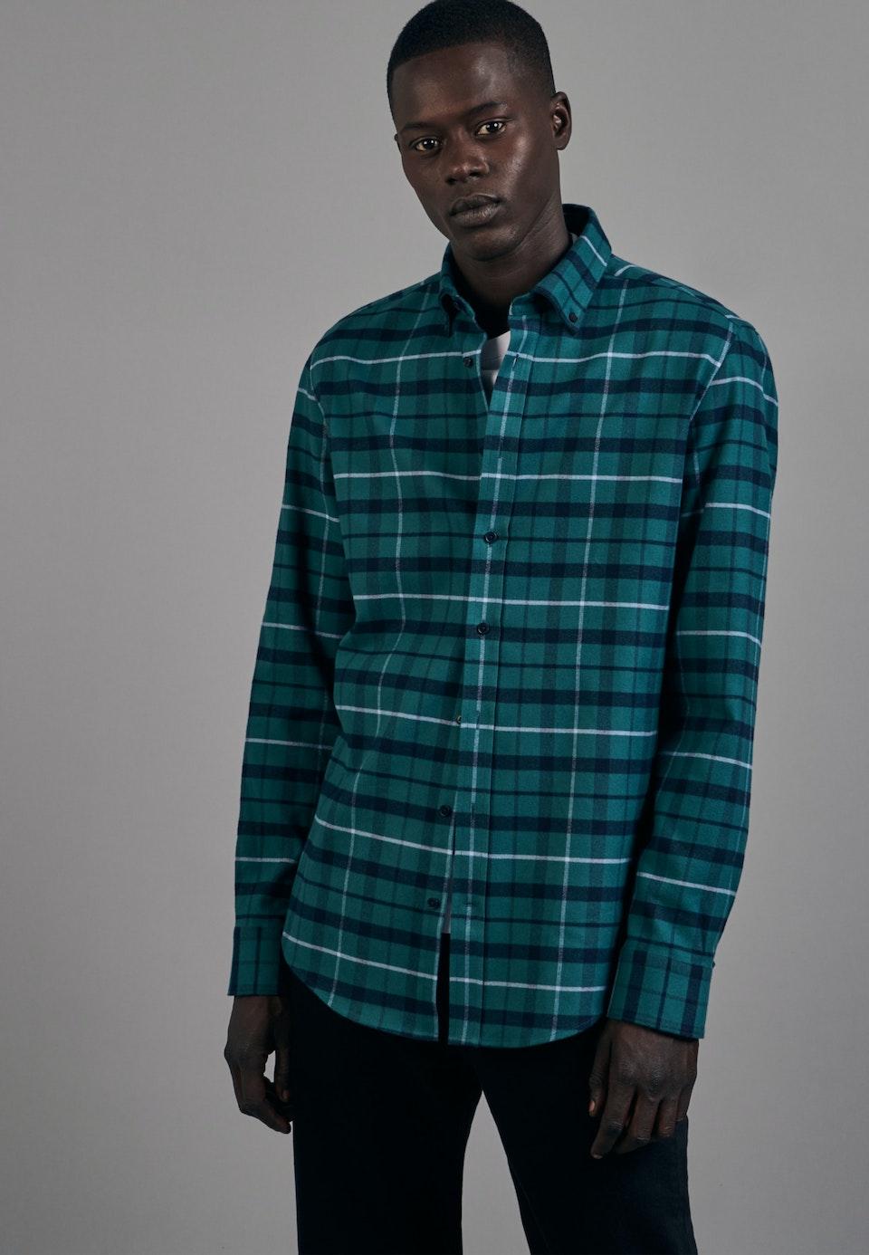 Flanell Business Hemd in Slim mit Button-Down-Kragen in Grün |  Seidensticker Onlineshop