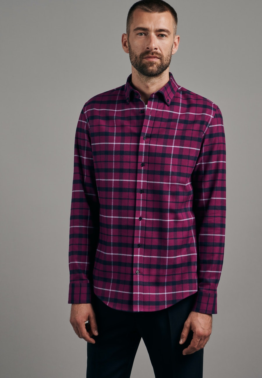 Flanell Business Shirt in Shaped with Button-Down-Collar in Pink    Seidensticker Onlineshop
