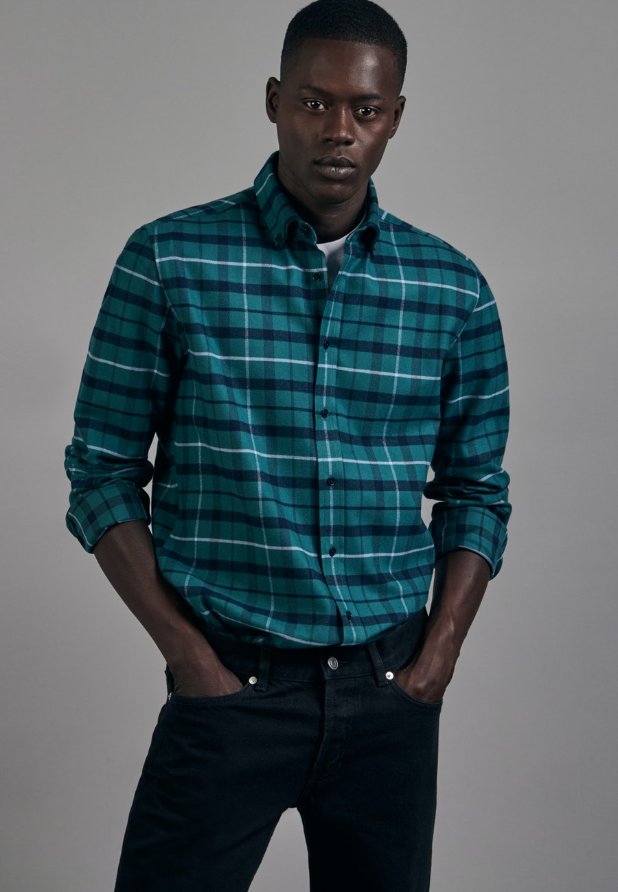 Flannel Business Shirt in Shaped with Button-Down-Collar in Green |  Seidensticker Onlineshop
