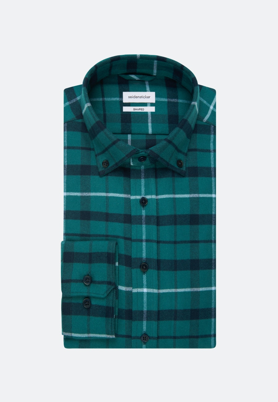 Flanell Business Shirt in Shaped with Button-Down-Collar in Green |  Seidensticker Onlineshop