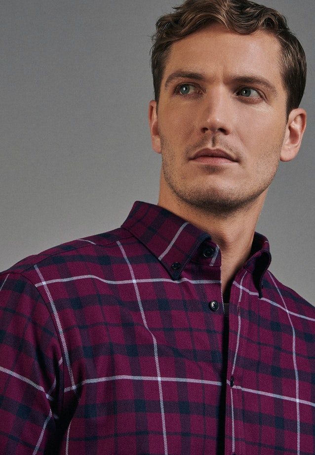 Flanell Business Hemd in Regular mit Button-Down-Kragen in Rosa/Pink |  Seidensticker Onlineshop