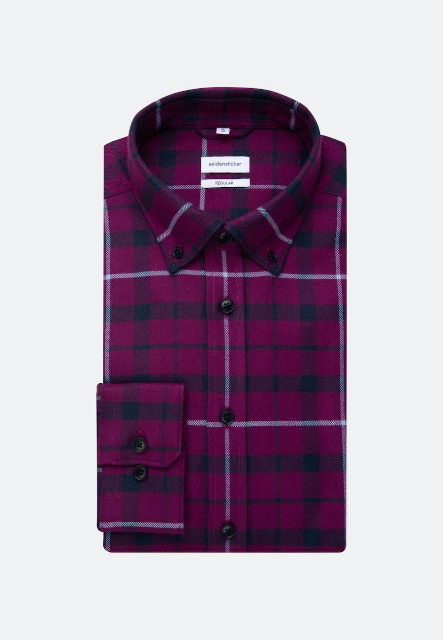 Flanell Business Hemd in Regular mit Button-Down-Kragen in Rosa/Pink |  Seidensticker Onlineshop