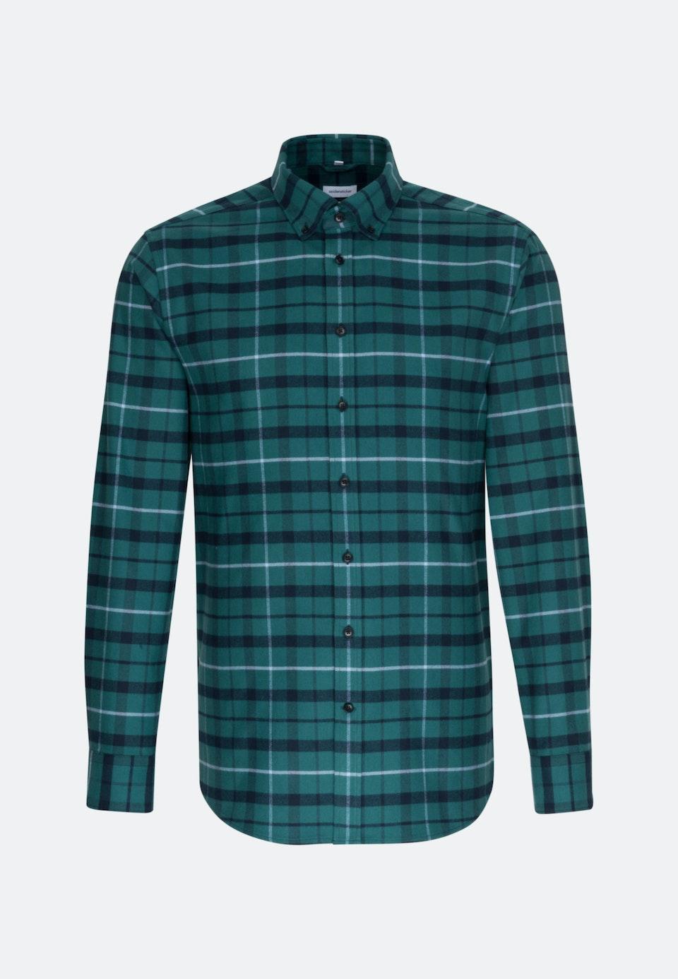Flannel Business Shirt in Regular with Button-Down-Collar in Green    Seidensticker Onlineshop