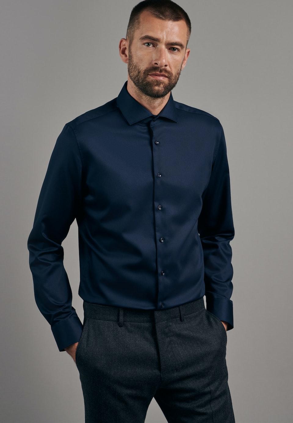 Non-iron Twill Business Shirt in X-Slim with Kent-Collar in Dark blue    Seidensticker Onlineshop