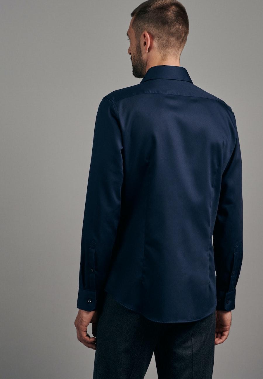 Non-iron Twill Business Shirt in X-Slim with Kent-Collar in Dark blue |  Seidensticker Onlineshop