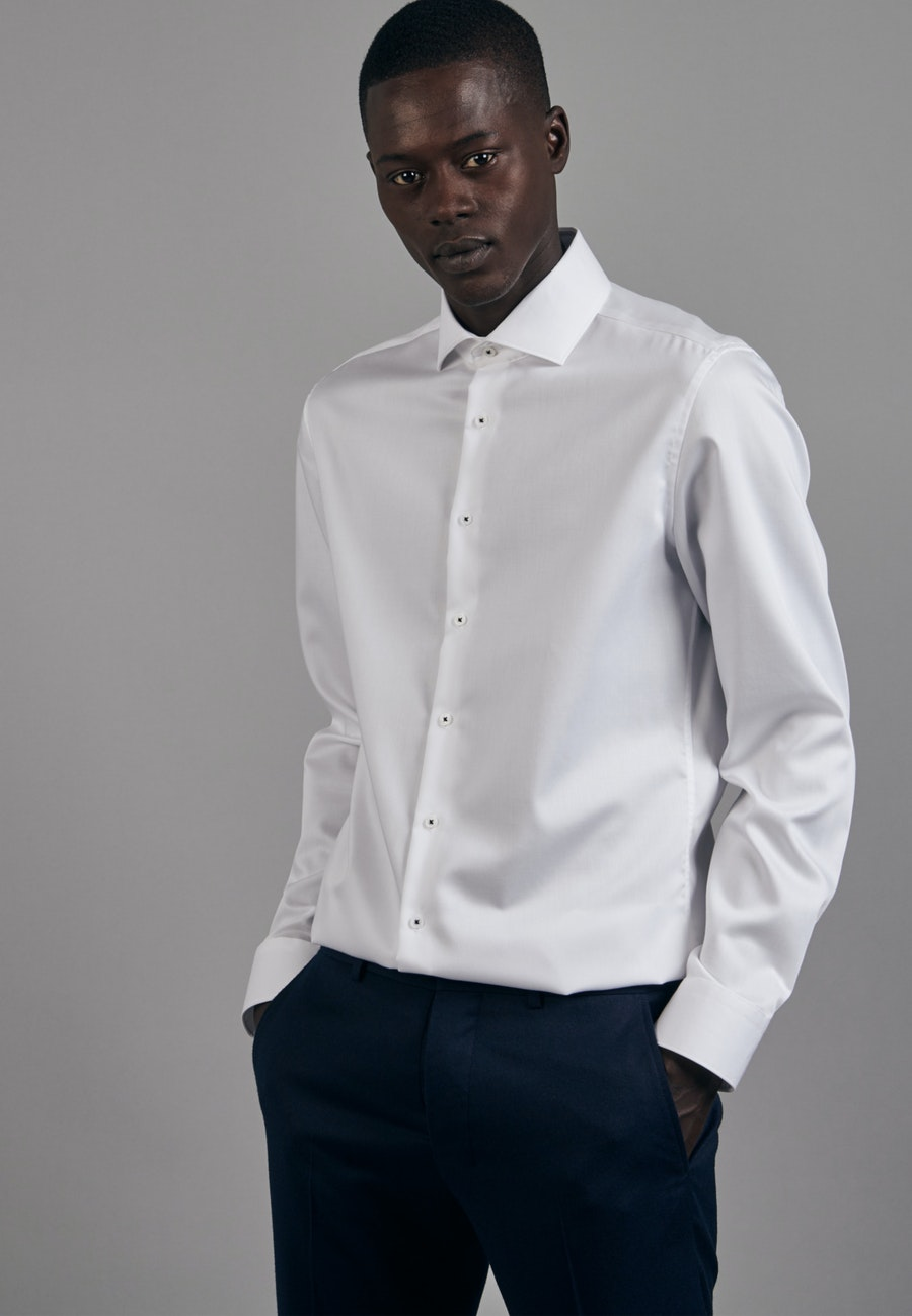Non-iron Twill Business Shirt in X-Slim with Kent-Collar in White |  Seidensticker Onlineshop
