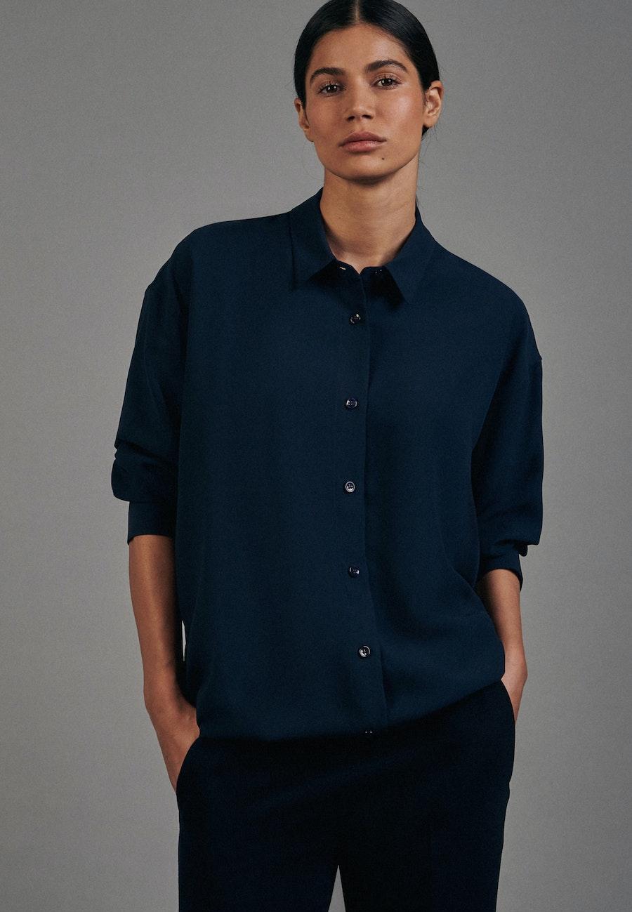 Krepp Long Blouse made of 100% Polyester in Dark blue |  Seidensticker Onlineshop