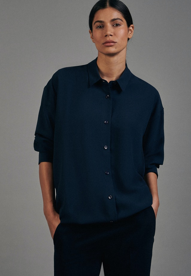 Krepp Long Blouse made of 100% Polyester in Dark blue |  Seidensticker Onlineshop