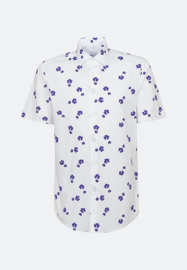 Bügelleichtes Popeline Kurzarm Business Hemd in Regular mit Kentkragen in Lila    Seidensticker Onlineshop
