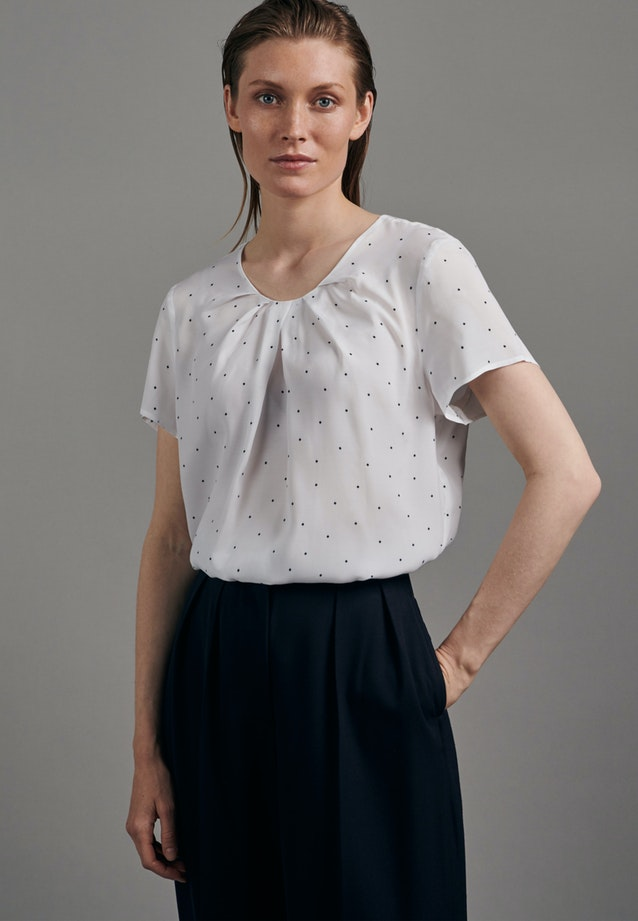 Short sleeve Voile Shirt Blouse made of 100% Viscose in White |  Seidensticker Onlineshop