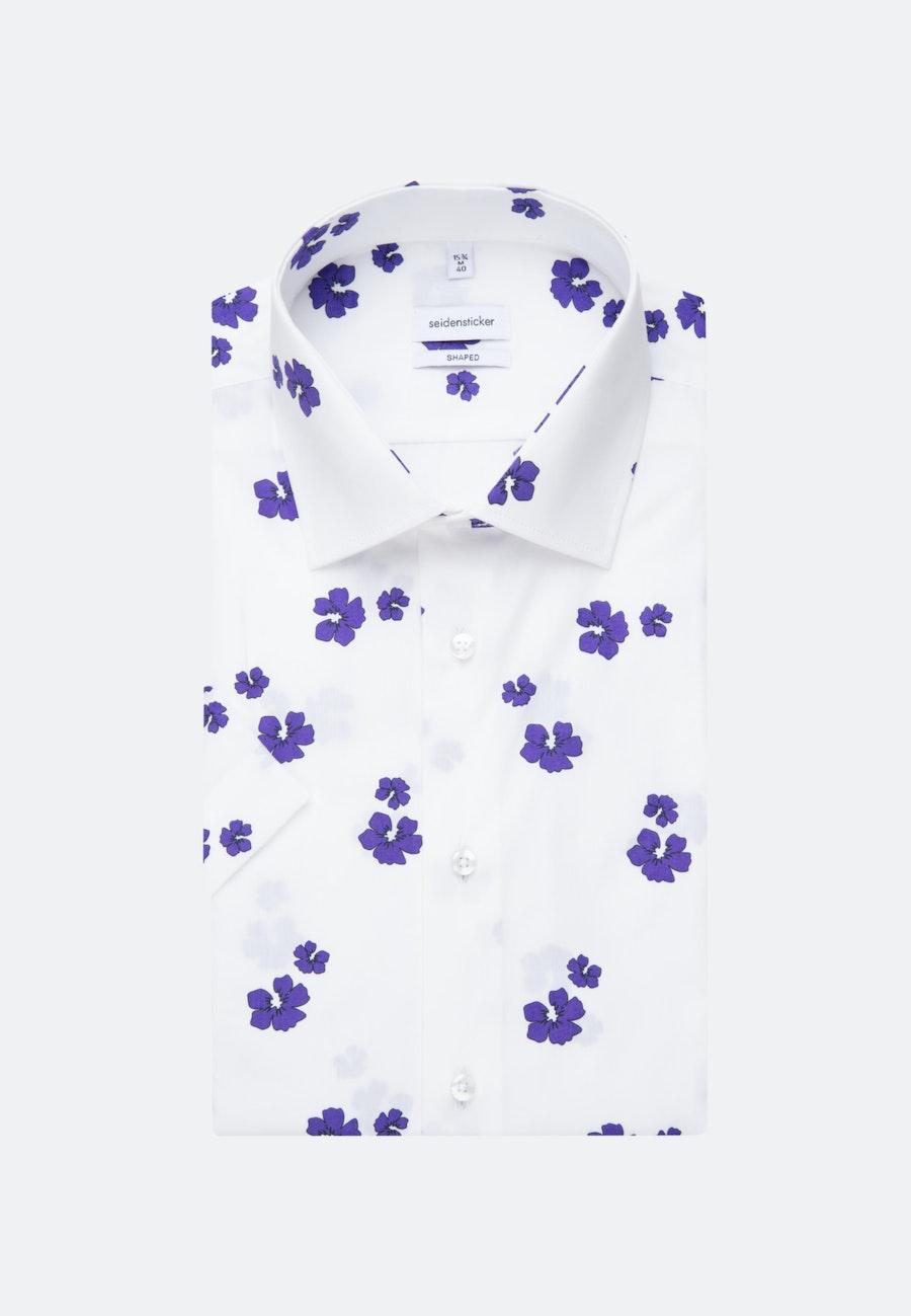 Easy-iron Popeline Short sleeve Business Shirt in Shaped with Kent-Collar in Purple    Seidensticker Onlineshop