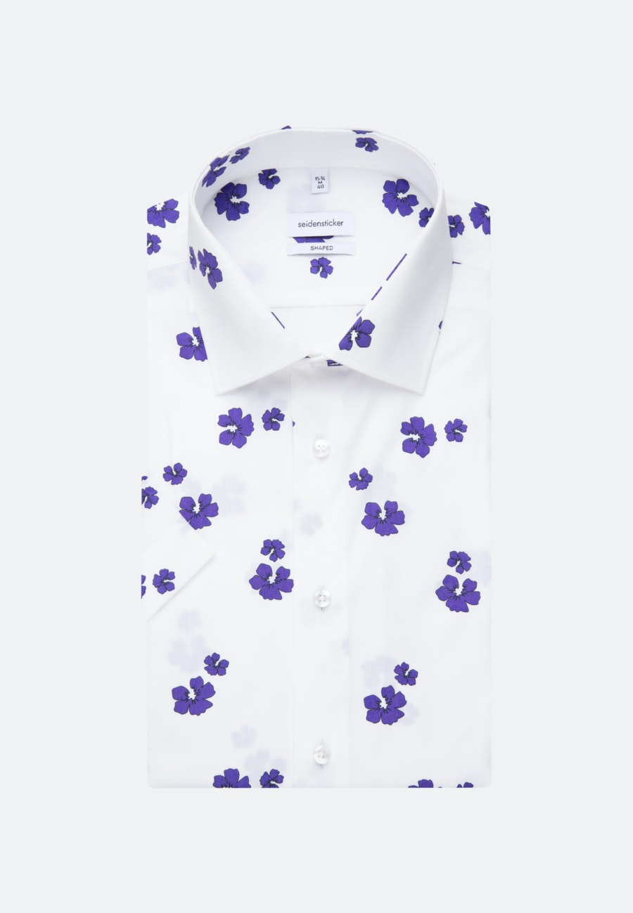 Bügelleichtes Popeline Kurzarm Business Hemd in Shaped mit Kentkragen in Lila |  Seidensticker Onlineshop