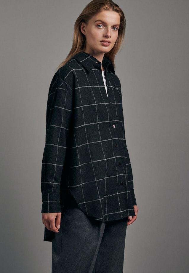 Flannel Long Blouse made of wool blend in Grey |  Seidensticker Onlineshop