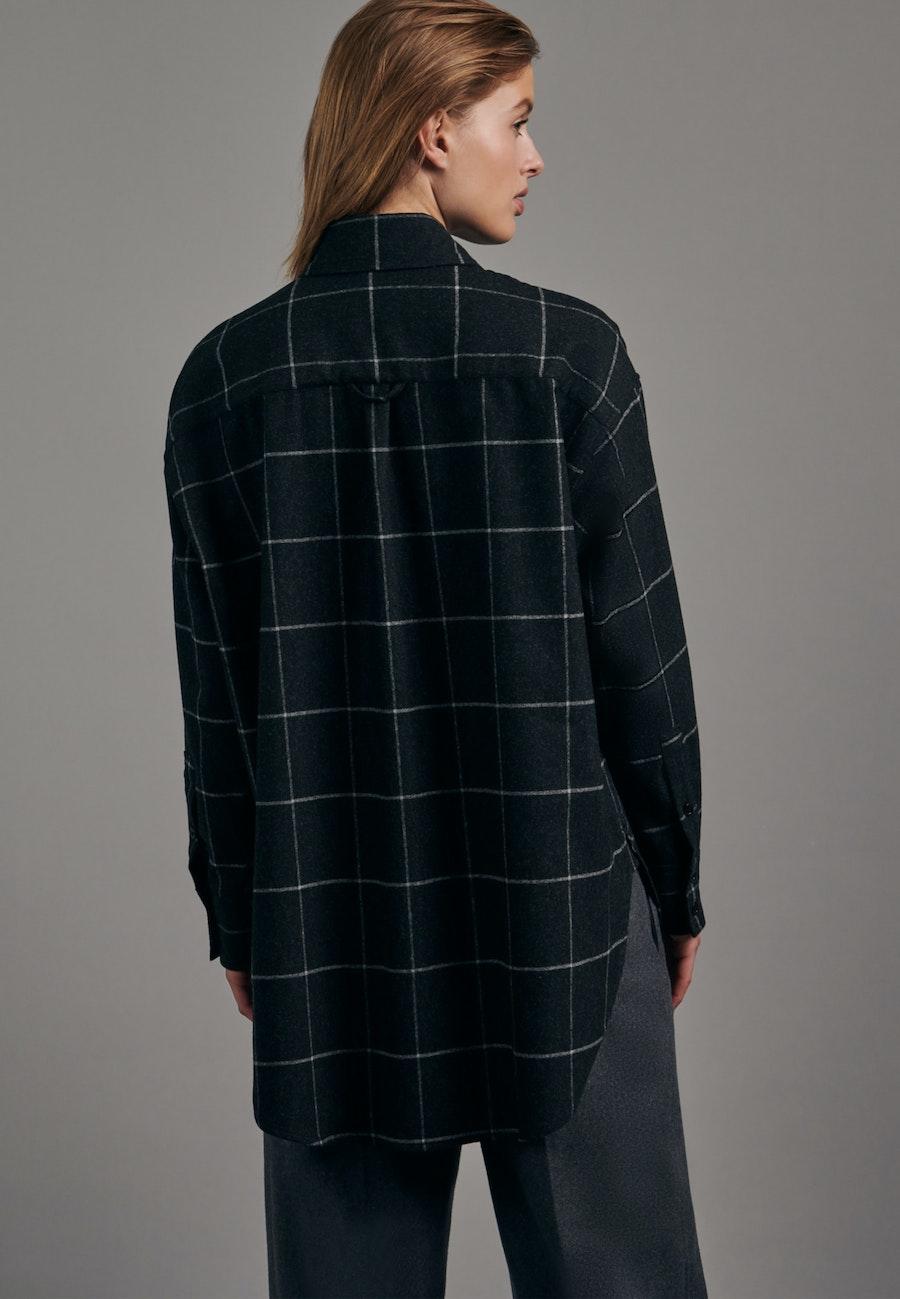 Flanell Longbluse aus Wollmischung in Grau |  Seidensticker Onlineshop