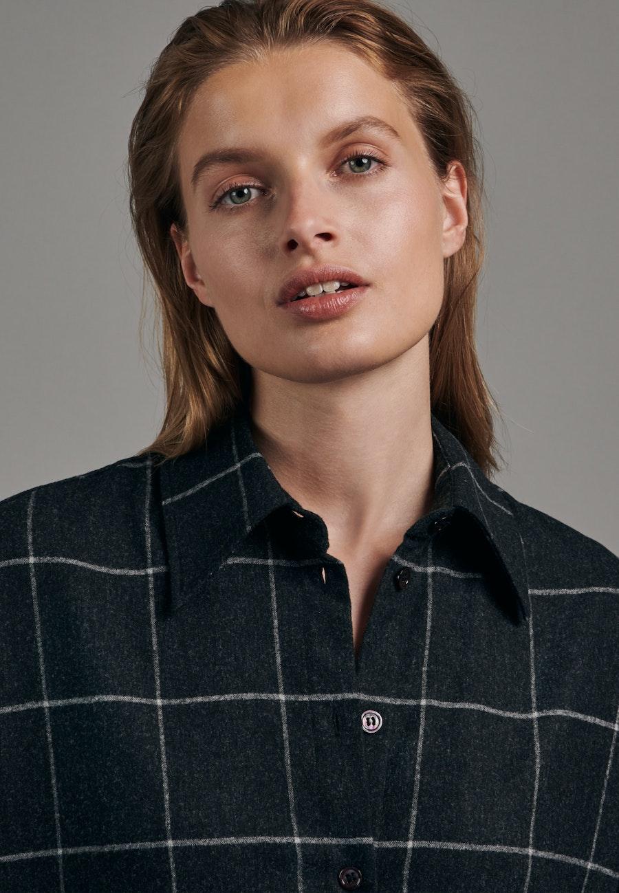 Flannel Long Blouse made of wool blend in Grey    Seidensticker Onlineshop