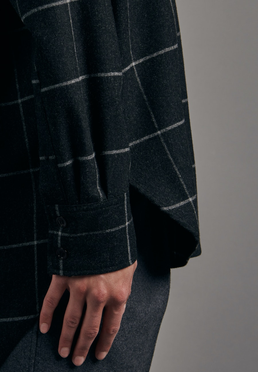 Flanell Long Blouse made of wool blend in Grey |  Seidensticker Onlineshop