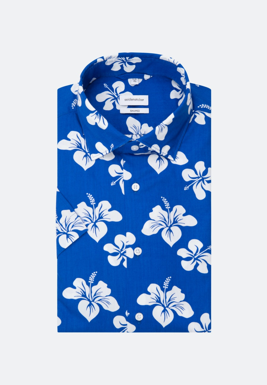 Easy-iron Popeline Short sleeve Business Shirt in Shaped with Kent-Collar in Medium blue |  Seidensticker Onlineshop