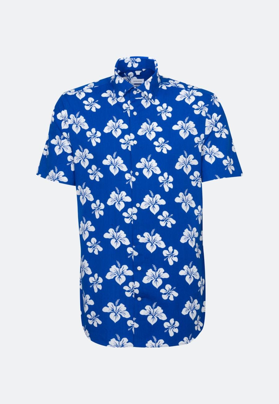 Easy-iron Poplin Short sleeve Business Shirt in Shaped with Kent-Collar in Medium blue    Seidensticker Onlineshop