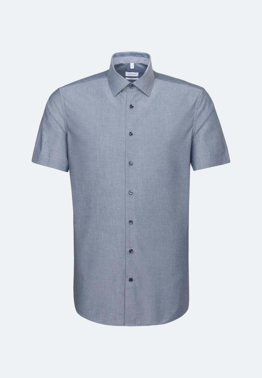 Bügelfreies Chambray Kurzarm Business Hemd in Shaped mit Kentkragen in Dunkelblau    Seidensticker Onlineshop