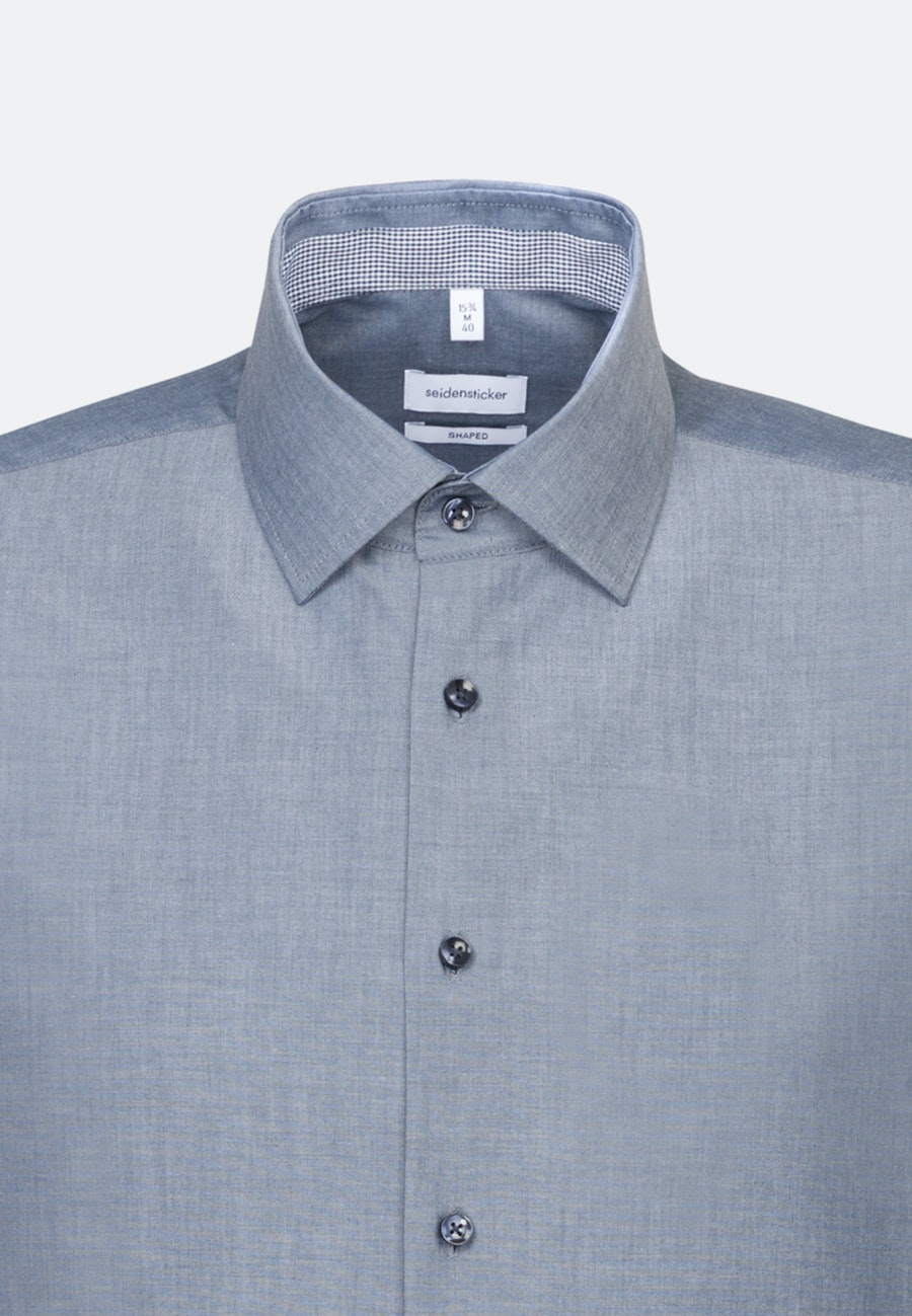 Non-iron Chambray Short sleeve Business Shirt in Shaped with Kent-Collar in Dark blue |  Seidensticker Onlineshop
