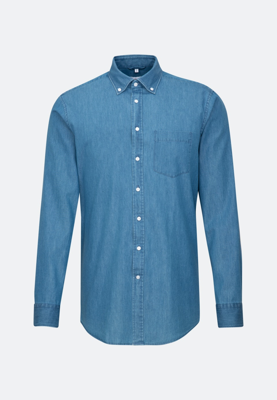 Easy-iron Denim Business Shirt in Regular with Button-Down-Collar in Medium blue |  Seidensticker Onlineshop