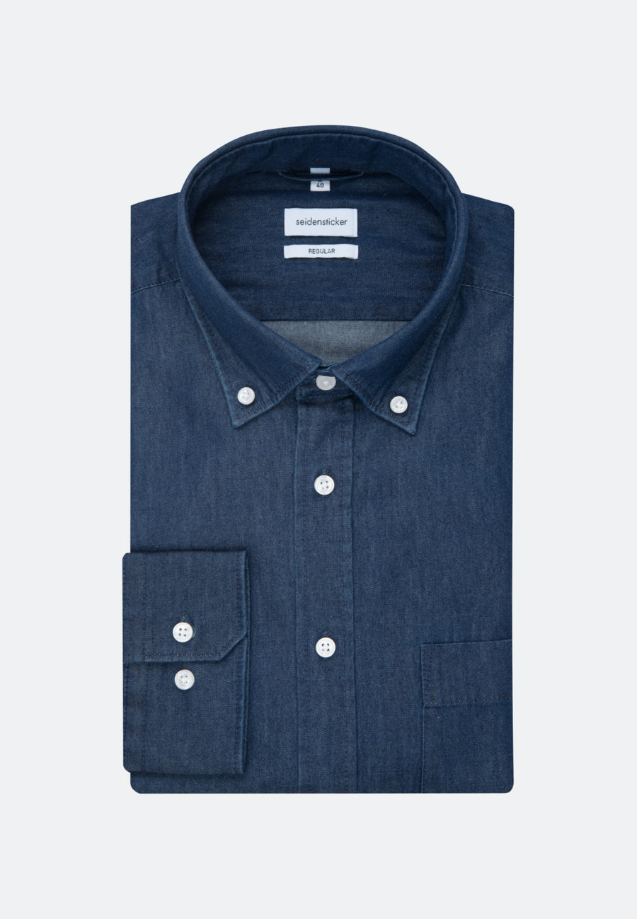Bügelleichtes Denim Business Hemd in Regular mit Button-Down-Kragen in Dunkelblau |  Seidensticker Onlineshop