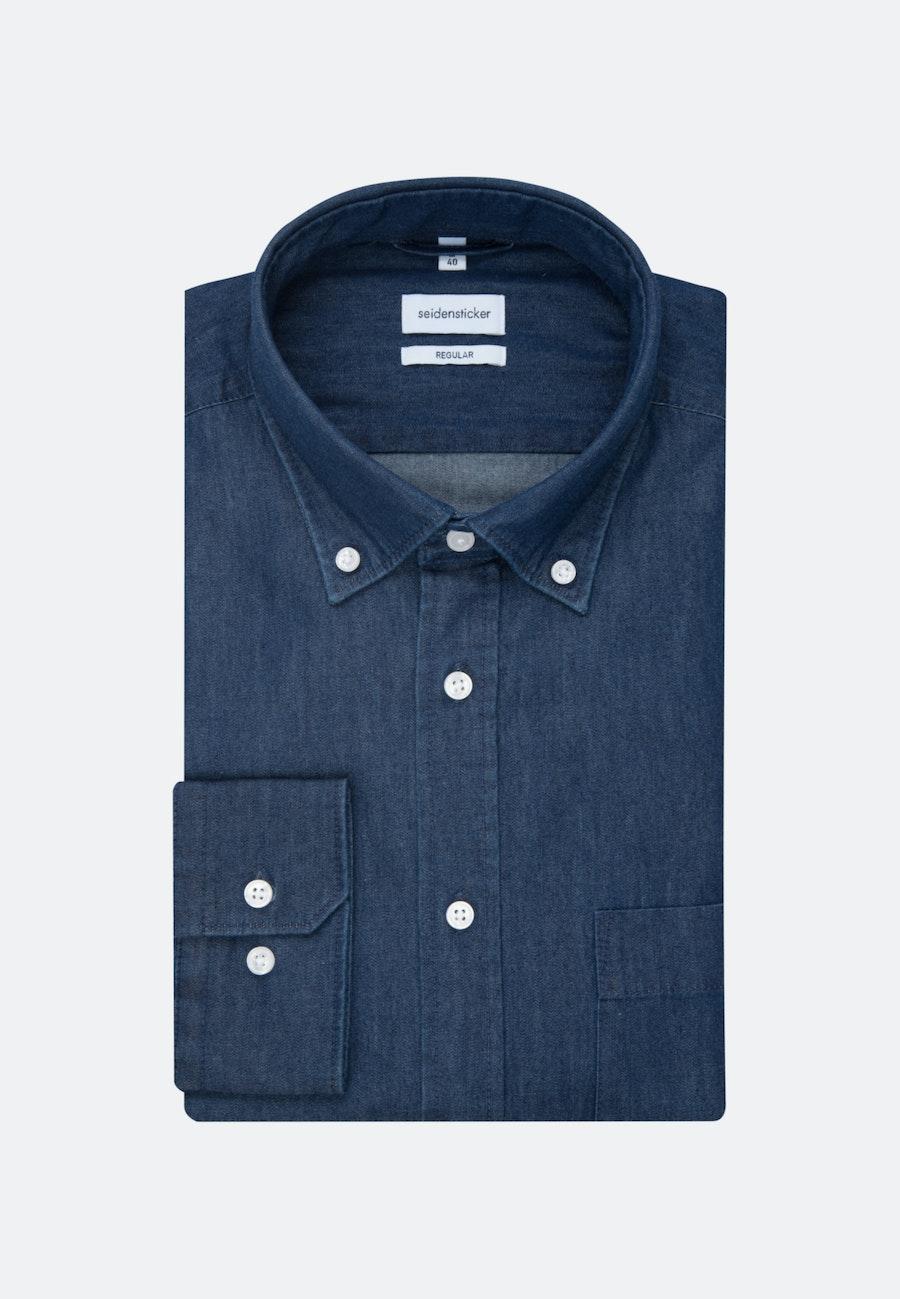 Easy-iron Denim Business Shirt in Regular with Button-Down-Collar in Dark blue    Seidensticker Onlineshop