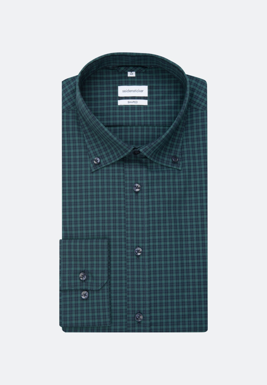 Non-iron Poplin Business Shirt in Shaped with Button-Down-Collar in Green |  Seidensticker Onlineshop
