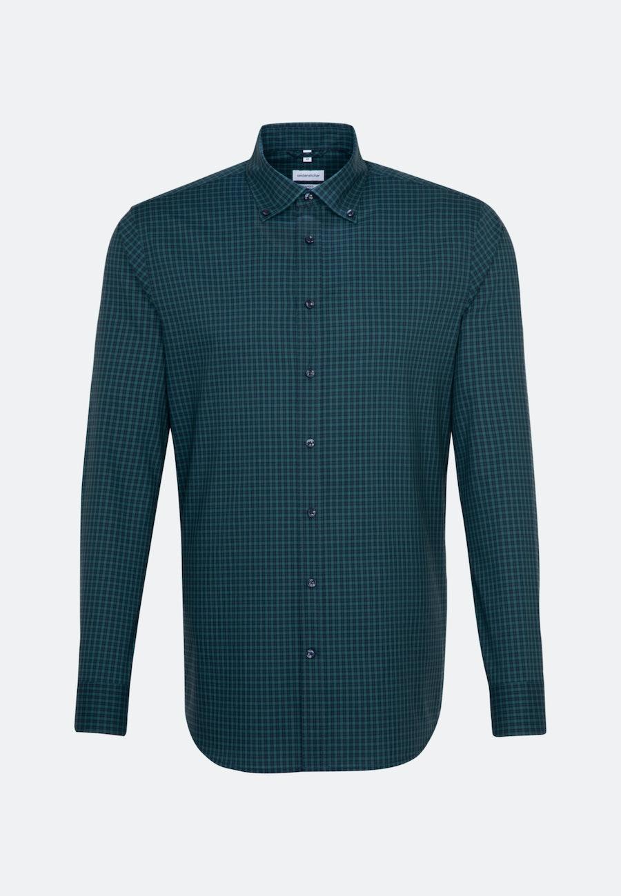 Bügelfreies Popeline Business Hemd in Shaped mit Button-Down-Kragen in Grün |  Seidensticker Onlineshop
