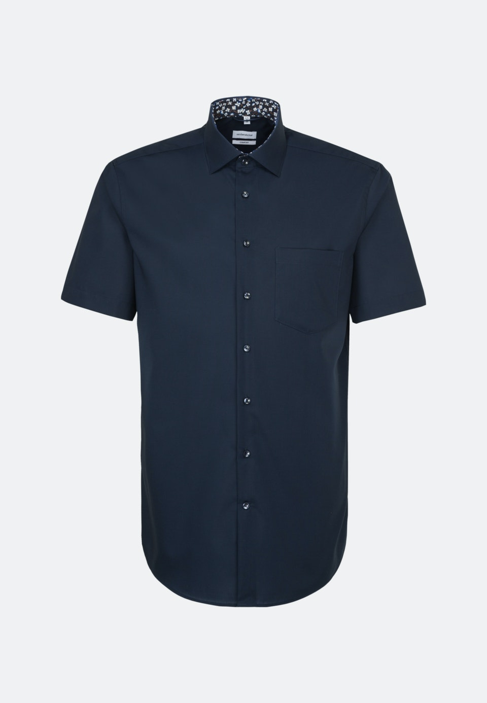 Non-iron Popeline Short sleeve Business Shirt in Comfort with Kent-Collar in Dark blue |  Seidensticker Onlineshop