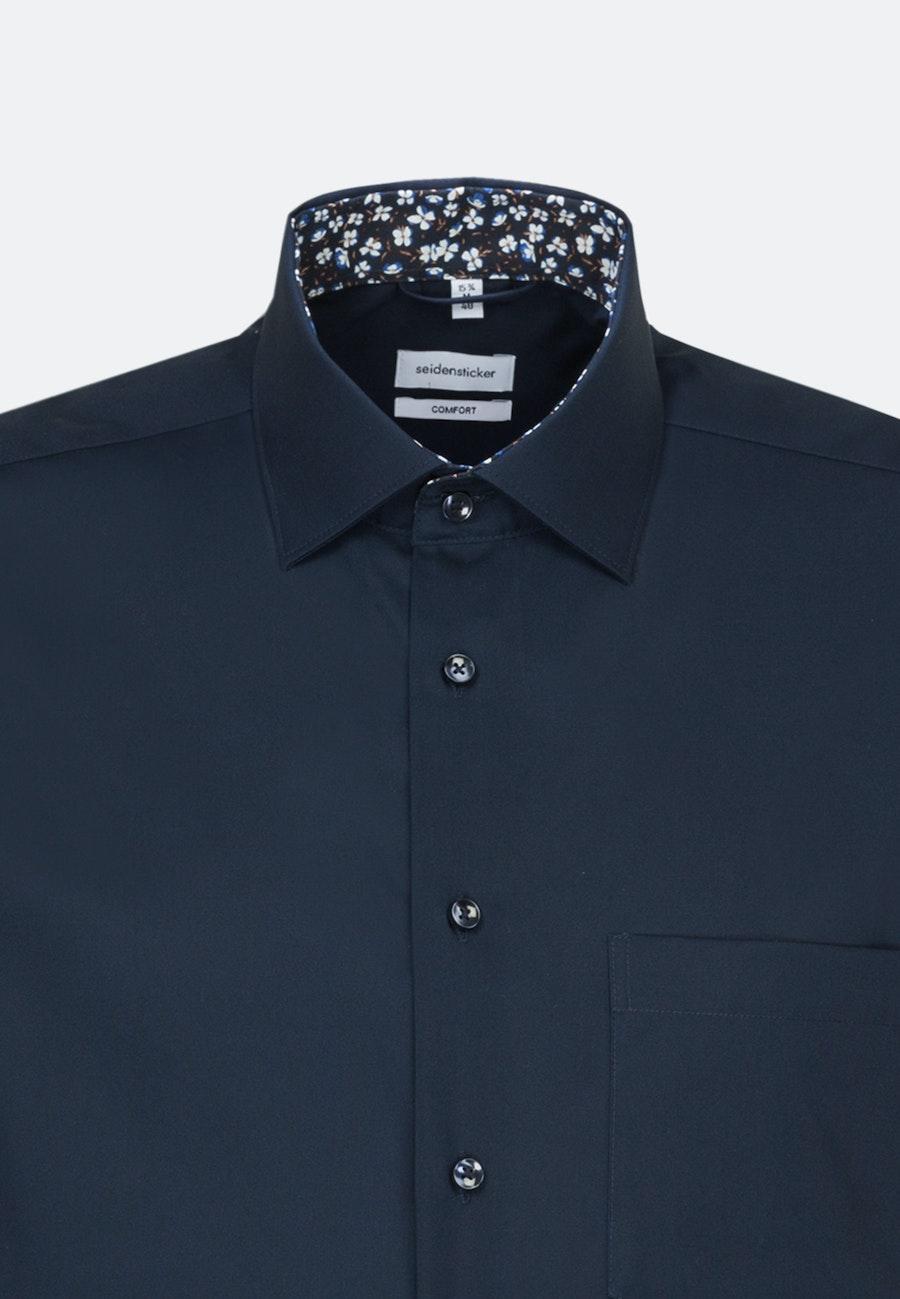 Non-iron Poplin Short sleeve Business Shirt in Comfort with Kent-Collar in Dark blue |  Seidensticker Onlineshop