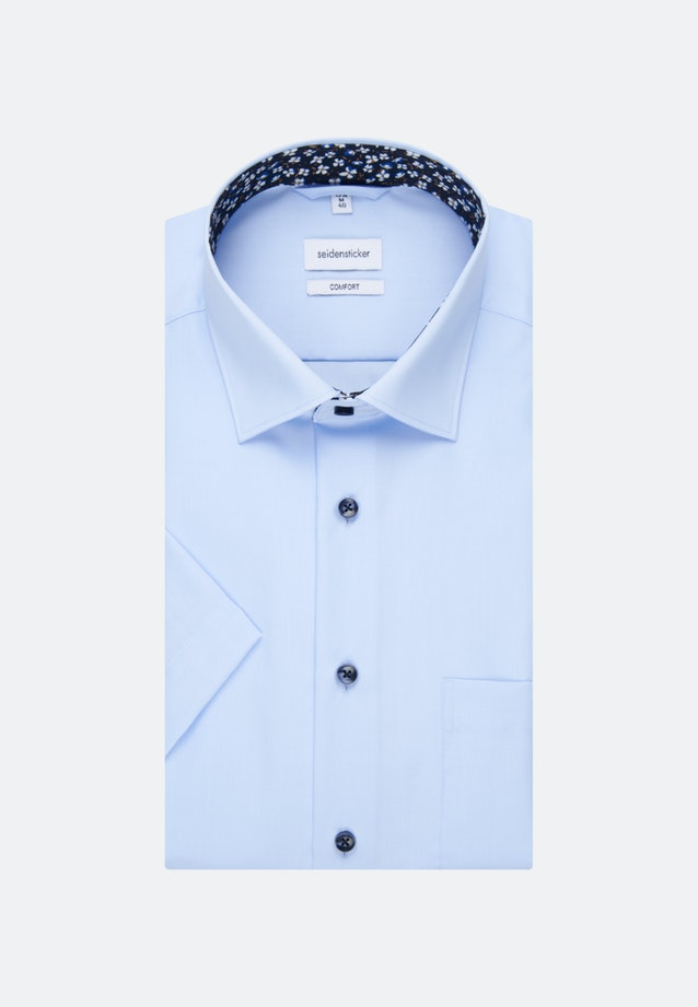 Non-iron Popeline Short sleeve Business Shirt in Comfort with Kent-Collar in Medium blue |  Seidensticker Onlineshop