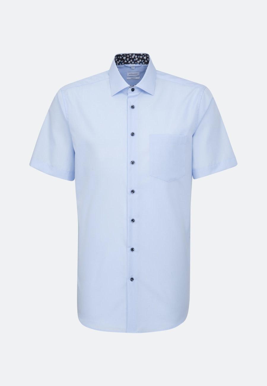 Non-iron Poplin Short sleeve Business Shirt in Comfort with Kent-Collar in Medium blue |  Seidensticker Onlineshop