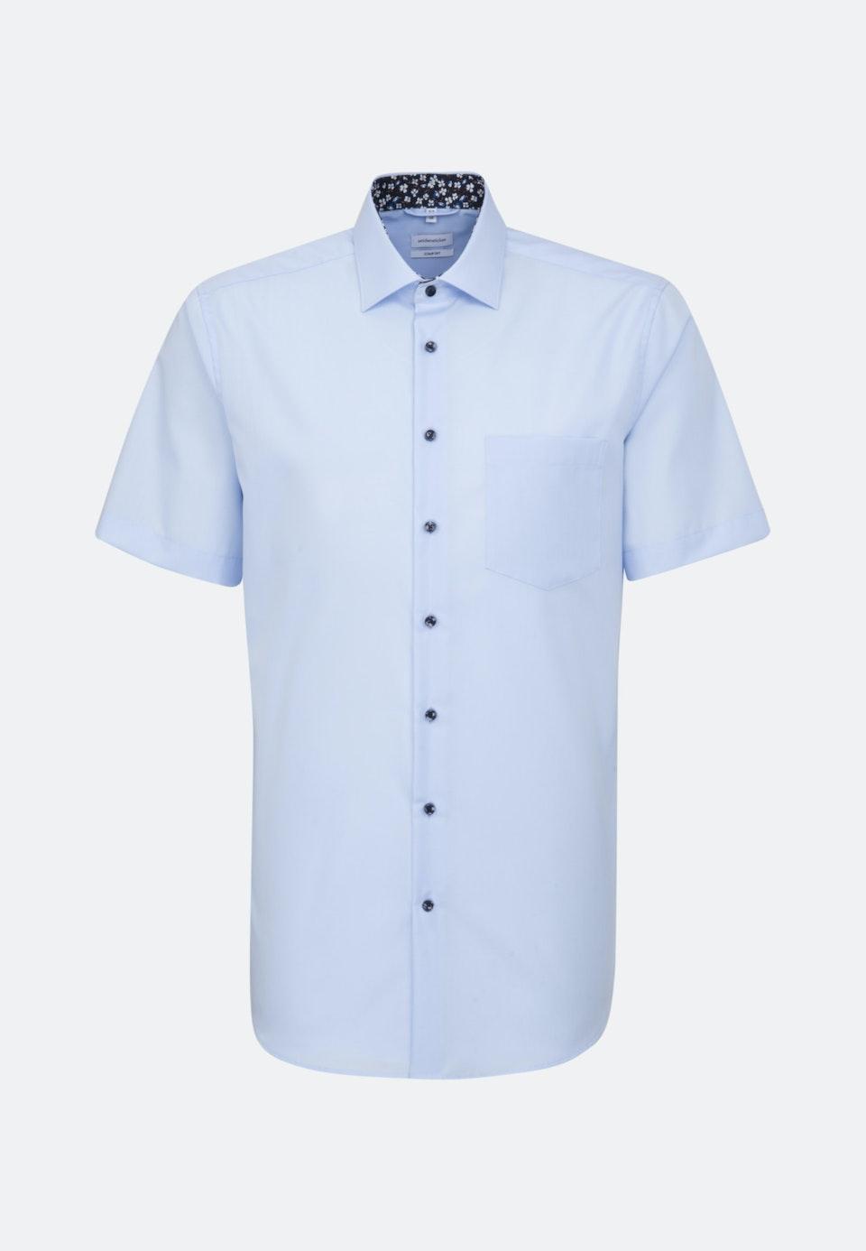 Non-iron Popeline Short sleeve Business Shirt in Comfort with Kent-Collar in Medium blue    Seidensticker Onlineshop