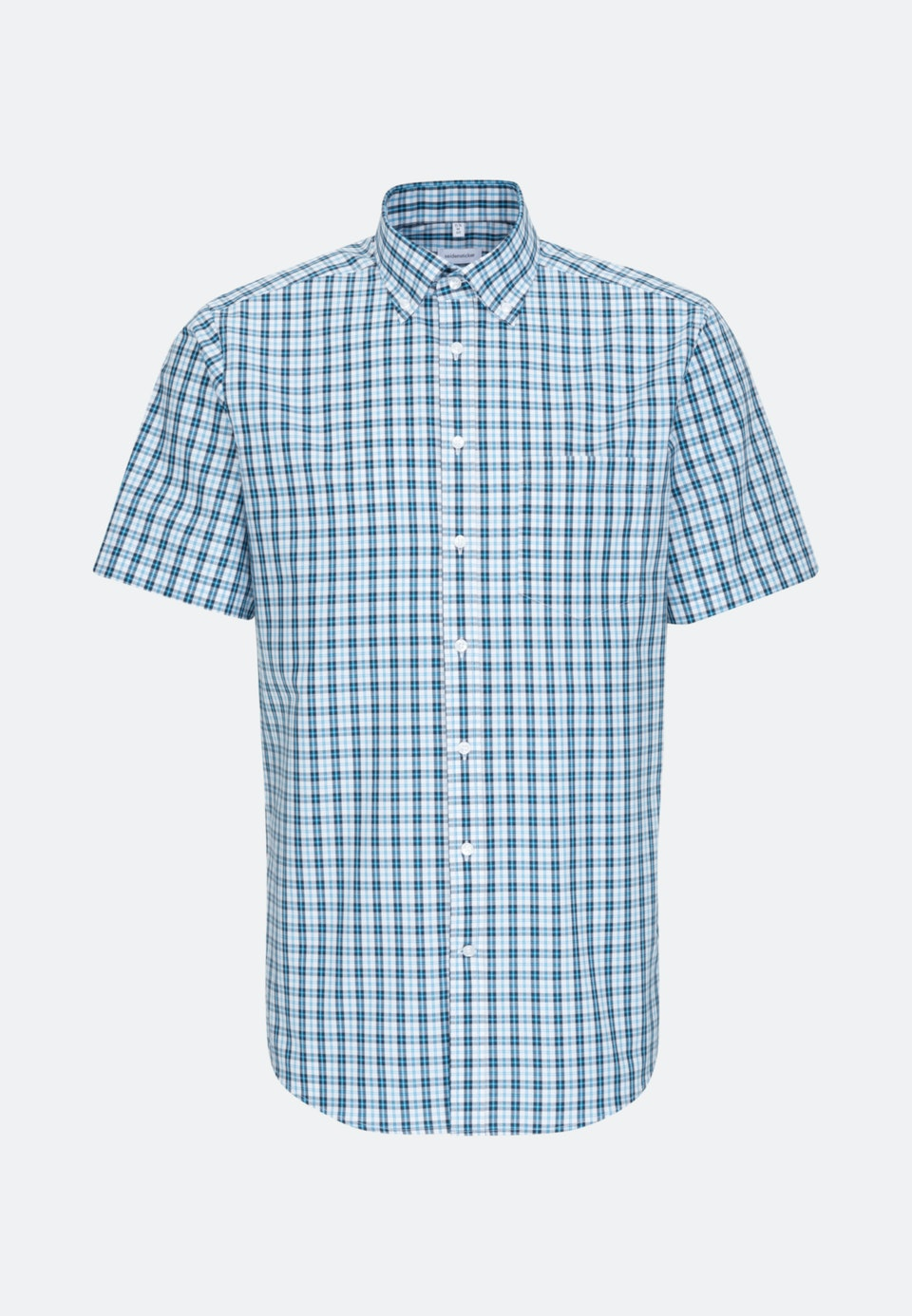 Non-iron Popeline Short sleeve Business Shirt in Regular with Button-Down-Collar in Turquoise |  Seidensticker Onlineshop