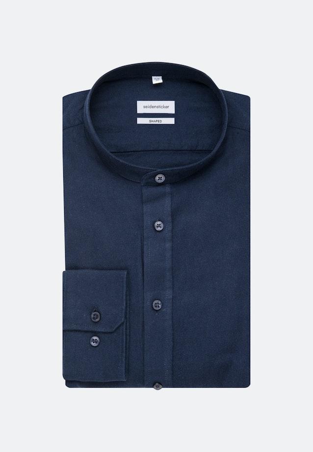 Easy-iron Twill Business Shirt in Shaped with Stand-Up Collar in Dark blue    Seidensticker Onlineshop