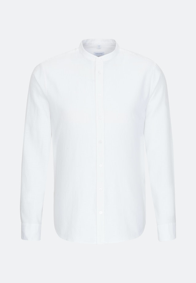 Bügelleichtes Twill Business Hemd in Shaped mit Stehkragen in Weiß |  Seidensticker Onlineshop