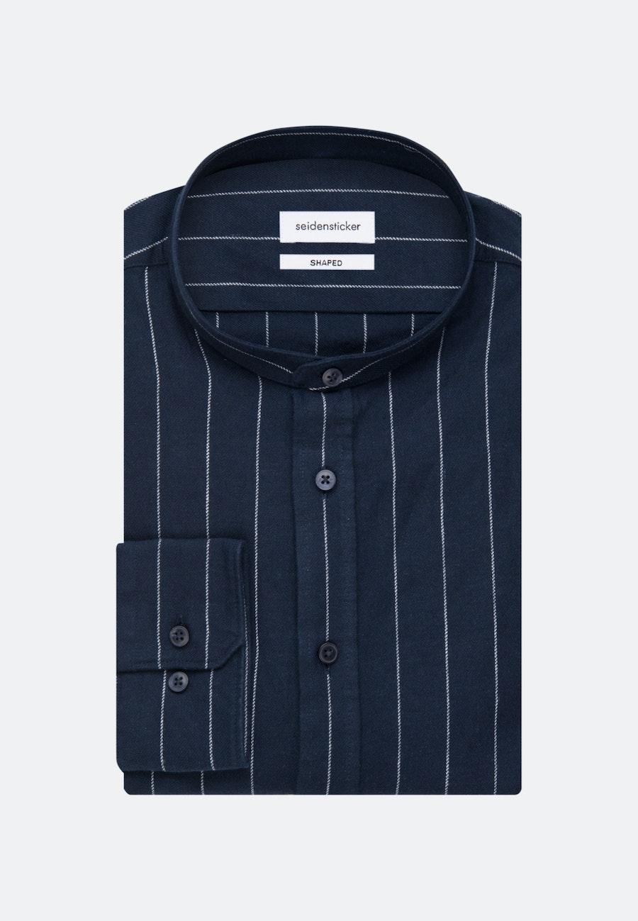 Bügelleichtes Twill Business Hemd in Shaped mit Stehkragen in Dunkelblau |  Seidensticker Onlineshop