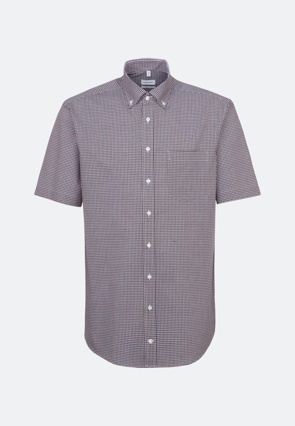 Bügelfreies Popeline Kurzarm Business Hemd in Comfort mit Button-Down-Kragen in Rot |  Seidensticker Onlineshop