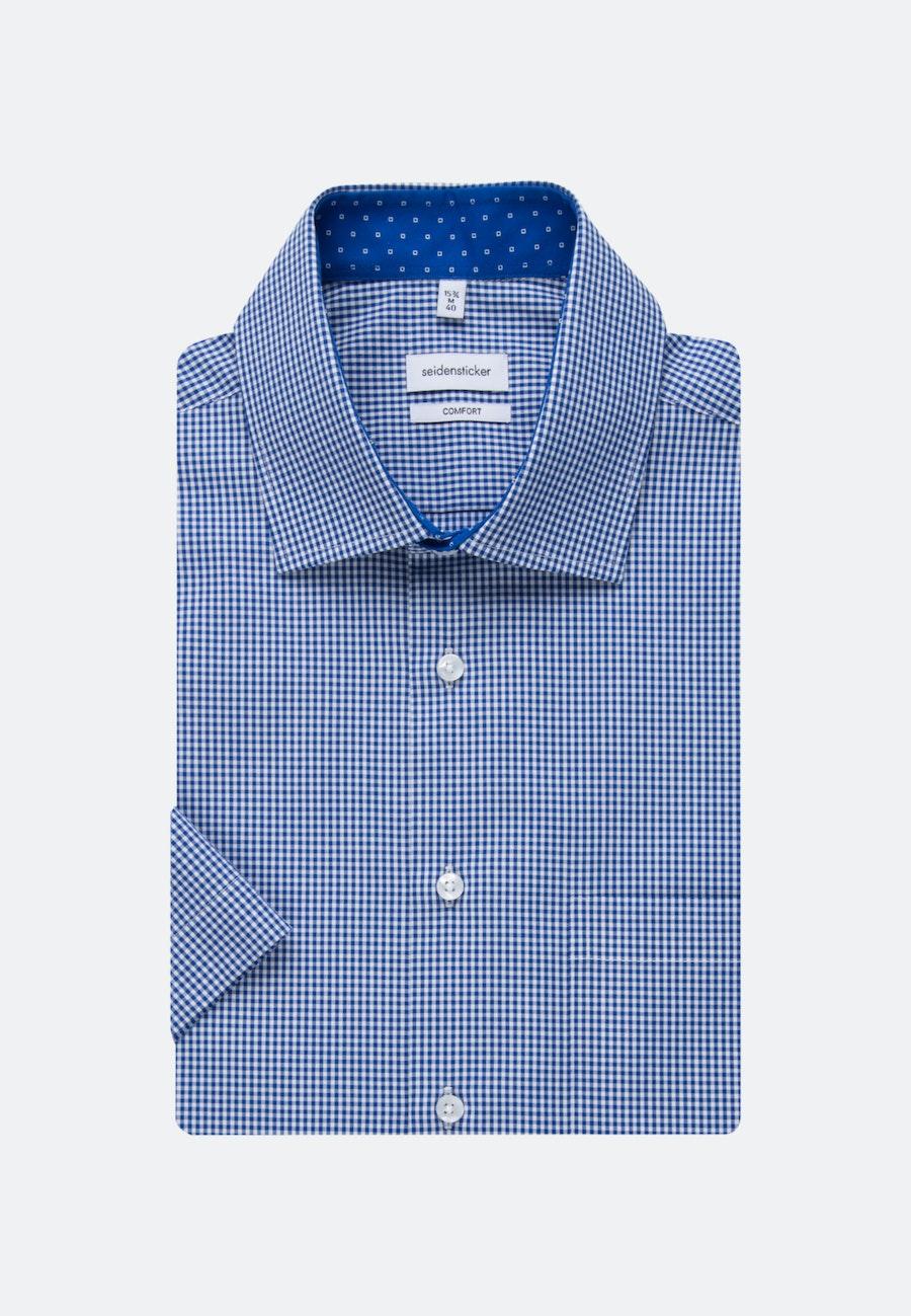 Bügelfreies Popeline Kurzarm Business Hemd in Comfort mit Kentkragen in Mittelblau |  Seidensticker Onlineshop