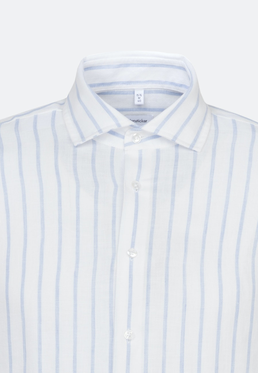 Bügelleichtes Leinen Business Hemd in Regular mit Kentkragen in Hellblau    Seidensticker Onlineshop