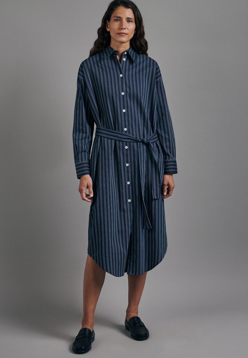 Popeline Maxi Kleid aus Viskosemischung in Dunkelblau    Seidensticker Onlineshop