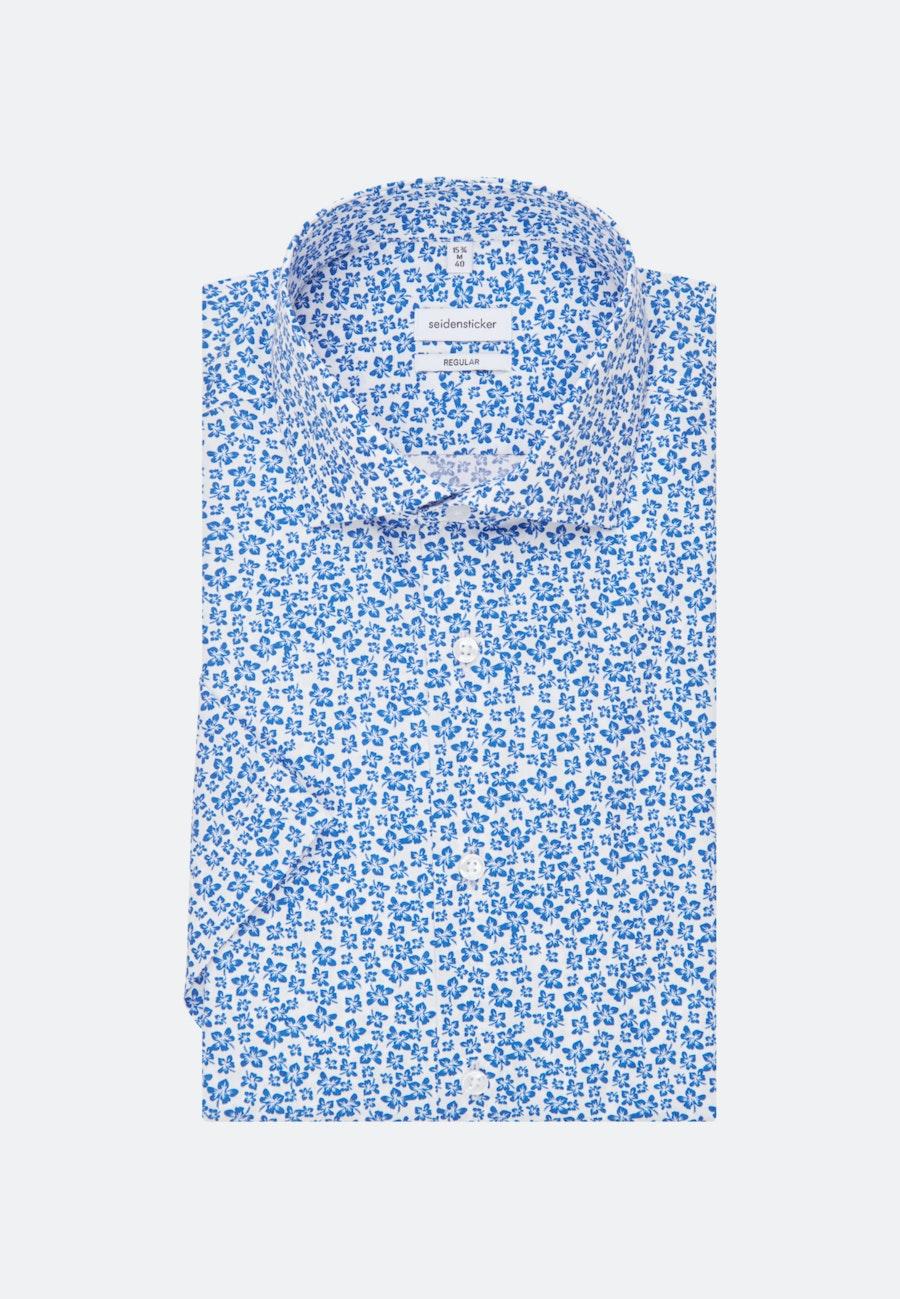 Popeline Kurzarm Business Hemd in Regular mit Kentkragen in Mittelblau |  Seidensticker Onlineshop