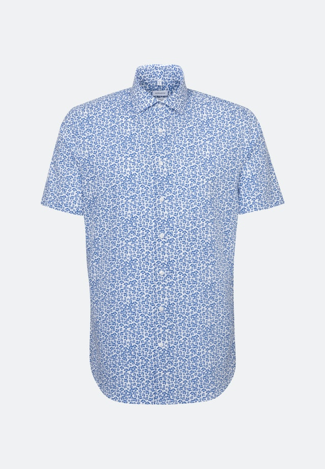 Bügelleichtes Popeline Kurzarm Business Hemd in Regular mit Kentkragen in Mittelblau |  Seidensticker Onlineshop