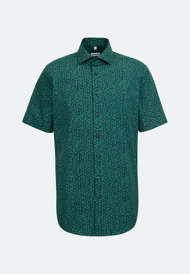 Bügelleichtes Popeline Kurzarm Business Hemd in Regular mit Kentkragen in Grün |  Seidensticker Onlineshop