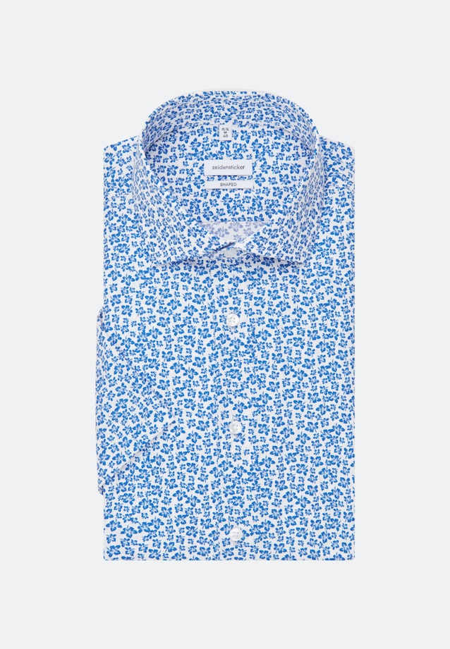 Easy-iron Popeline Short sleeve Business Shirt in Shaped with Kent-Collar in Medium blue |  Seidensticker Onlineshop