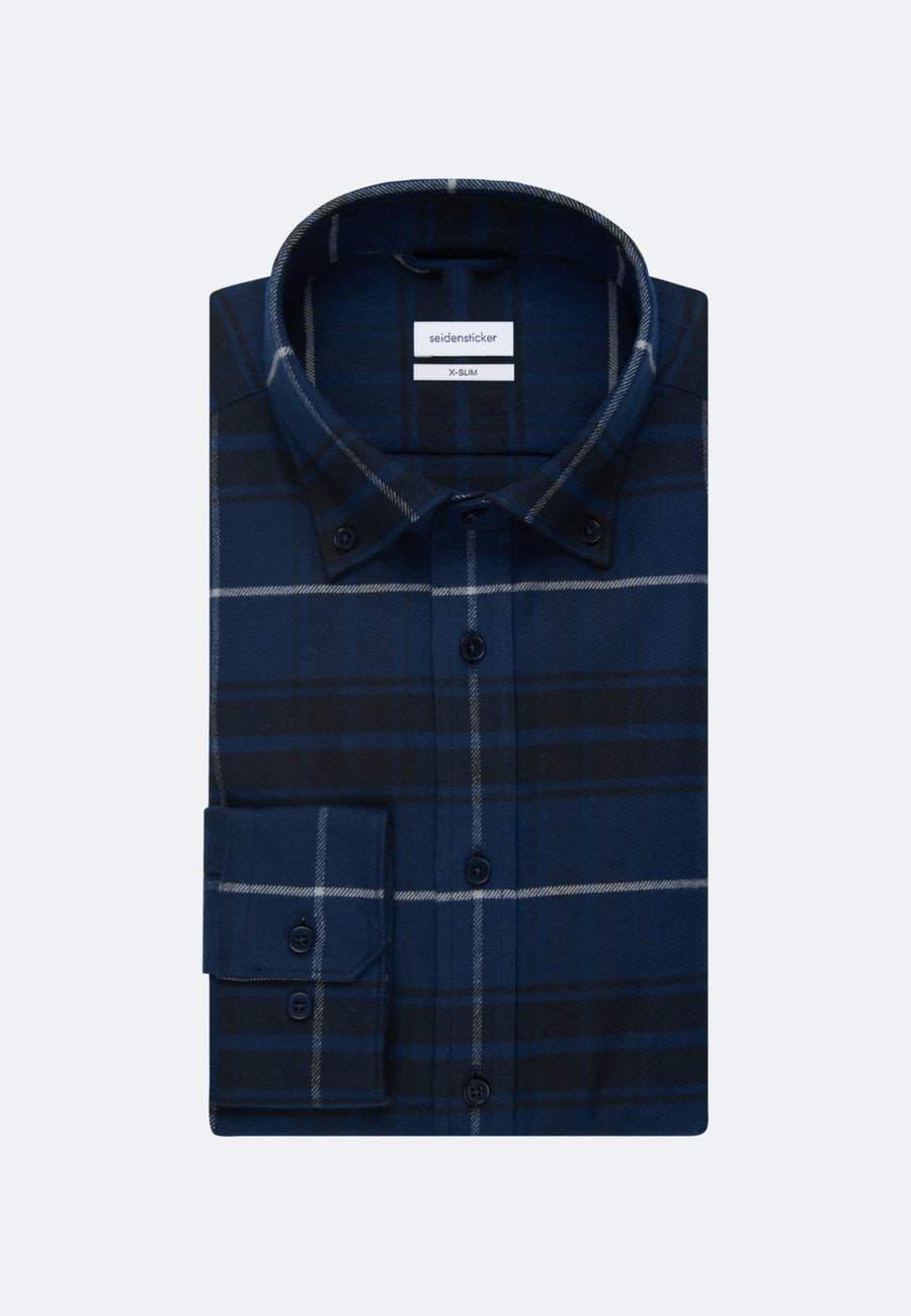Flanell Business Shirt in X-Slim with Button-Down-Collar in Dark blue |  Seidensticker Onlineshop