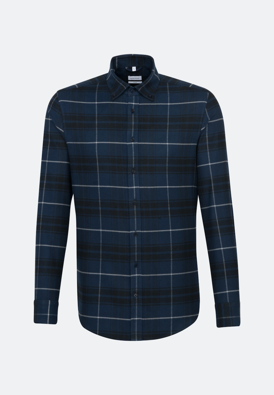 Flannel Business Shirt in X-Slim with Button-Down-Collar in Dark blue |  Seidensticker Onlineshop